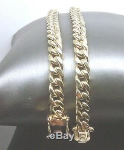 Mens Real 10k Gold 8mm Miami Cuban Chain Necklace Box Lock 26 inch Rope, link N