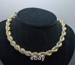 Mens Real 10k Yellow Gold Thick Rope Chain Necklace 20 inch 10mm