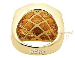 Mens Solid 24k Liberty Coin Big Face 22mm Genuine Diamond Ring 1 Ct