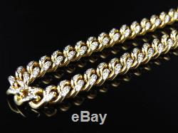Mens Solid Yellow Gold Miami Cuban Link 6.2 MM Real Diamond Chain Necklace 5 ct