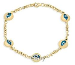 Multi Round Evil Eye Polished Blue Luck Charm Rolo Bracelet Real 14K Yellow Gold