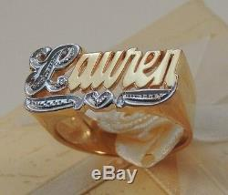 Name Ring Personalized 10k Gold Any Name With Bit Work10k Real Gold From Ny