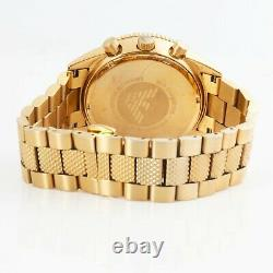 New Genuine Emporio Armani Ar5857 Yellow Gold Stainless Steel Men's Watch Gift