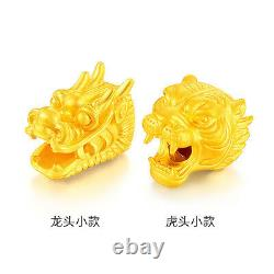New Real 999 24k Yellow Gold 3D Lucky Tiger Bead Pendant 11mm H