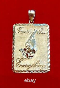 New Real Solid 10K Gold FAMILY OVER EVERYTHING PRAYING HAND WithGUN Pendant Charm