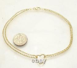Open Heart Anklet Ankle Bracelet with Double Rolo Chain Real 10K Yellow Gold