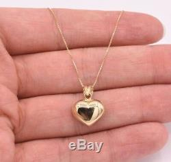 Puffed Heart Diamond Cut Reversible Charm Pendant Necklace Real 10K Yellow Gold