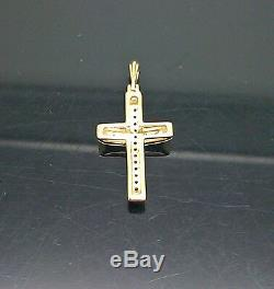 REAL 10K Gold Rope Chain Necklace & Real Diamond & gold Cross Pendant Ladies N