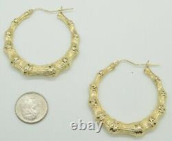 REAL 10K Yellow Gold 1 3/4 42mm Large Graduated Bamboo Hoop Earrings