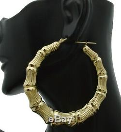 REAL 10K Yellow Gold 2 1/4 60mm Large Graduated Bamboo Hoop Earrings 7.9gr