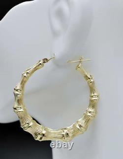 REAL 10K Yellow Gold 2 50mm Large Graduated Bamboo Hoop Earrings