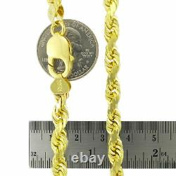 REAL 10K Yellow Gold 6mm WIDE Italian Diamond Cut Rope Chain Link Necklace 20