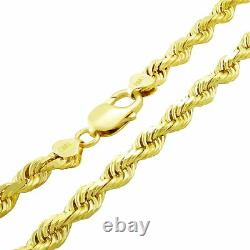 REAL 10K Yellow Gold 6mm WIDE Italian Diamond Cut Rope Chain Link Necklace 24