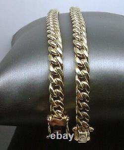 REAL 10K Yellow Gold 7MM Mens Necklace Miami Cuban Link Chain Box Lock 28 inch
