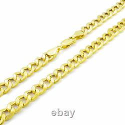 REAL 10K Yellow Gold 7.5MM Wide Link Cuban Curb Chain Necklace Lobster Clasp 22