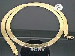 REAL 10K Yellow Gold Herringbone Necklace Chain, 22 Inch 7mm, Christmas Sale! N