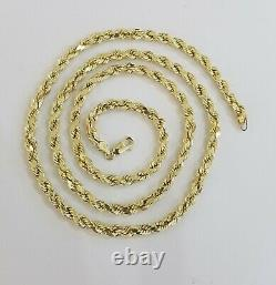 REAL 10K Yellow Gold Rope Chain Necklace Diamond Cuts 4mm 22 Men Women 10kt