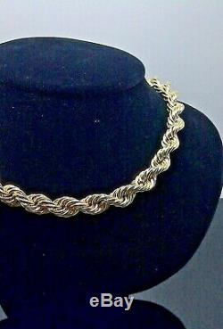 REAL 10k Yellow 100% Gold Rope Chain Necklace 26 Inch Mens 9-10 mm