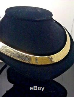 REAL 10k Yellow Gold Herringbone Necklace chain 12mm Thick 24 inch, Men /Women N