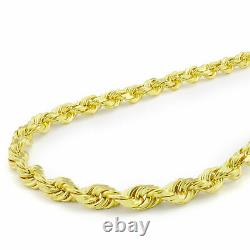 REAL 10k Yellow Gold Mens Womens 5mm Diamond Cut Rope Link Chain Necklace 22