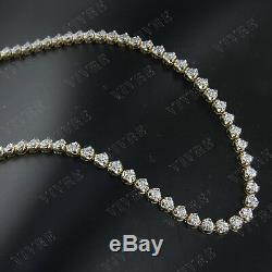 REAL 14k Yellow Gold 1.25 Ct Round Cut Diamond Tennis Necklace For Women's