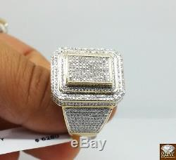 REAL 1 CT Diamond Ring For Men 10k Yellow Gold Square Lollipop Pinky casual Band