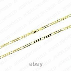 Real 10KT Yellow Gold 2mm Italian Figaro Chain Link Pendant Necklace 16- 26