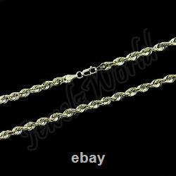 Real 10K Solid Yellow Gold Rope Chain 3MM 18 20 22 24 26 28 30 Inch Mens Womens