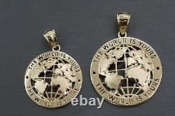 Real 10K Solid Yellow Gold World Is Yours Globe Charm Pendant