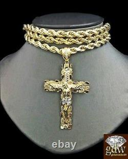 Real 10K Yellow Gold 26 Inch Rope Chain Necklace Jesus Charm Pendant Cross