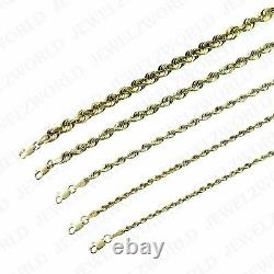 Real 10K Yellow Gold 2mm 6mm Diamond Cut Rope Chain Necklace Bracelet 16- 30
