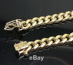 Real 10K Yellow Gold 8mm Miami Cuban Chain Necklace Box Lock 30 Inch, Rope, Link