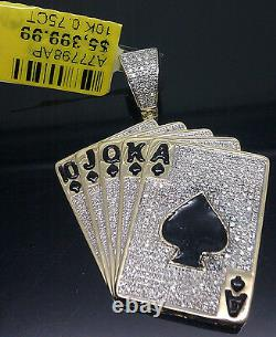 Real 10K Yellow Gold And Genuine Diamond In Cards Charm, Royal Flush