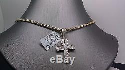 Real 10K Yellow Gold Ankh With 0.51 Diamond Charm With 26Long Gold Franco Chain