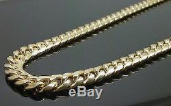 Real 10K Yellow Gold Choker Necklace Mens Miami Cuban Link 7mm 18 Inch Box, Rope