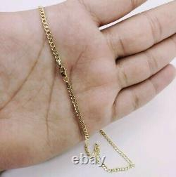 Real 10K Yellow Gold Cuban Link Chain Necklace 16 18 20 22 24 Curb Chain
