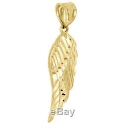 Real 10K Yellow Gold Diamond Cut Texture Small Angel Wing Pendant Charm 1.25