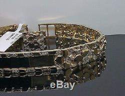 Real 10K Yellow Gold ID Nugget Bracelet 7.5Inches Long Mens/ladies, 7mm Width