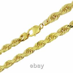 Real 10K Yellow Gold LARGE 7mm Italian Diamond Cut Rope Chain Link Necklace 22
