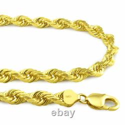 Real 10K Yellow Gold LARGE 7mm Italian Diamond Cut Rope Chain Link Necklace 24