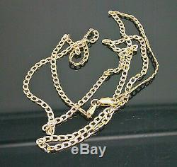 Real 10K Yellow Gold Link Chain Necklace Diamond Cut Chain 22 Inch, Men/Women N