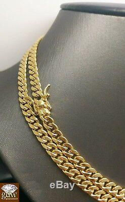 Real 10K Yellow Gold Men 6mm Miami Cuban Chain Necklace Box Lock Clasp 19 inch N