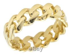 Real 10K Yellow Gold Men's Ladies Solid Miami Cuban Link Ring Band 7mm