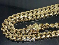 Real 10K Yellow Gold Men's Miami Cuban Chain With Box Lock 22 inch Long 7mm