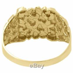 Real 10K Yellow Gold Men's Nugget Style Pinky Ring Custom Fancy Band 12.75mm
