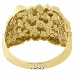 Real 10K Yellow Gold Men's Nugget Style Pinky Ring Custom Fancy Band 14.75mm