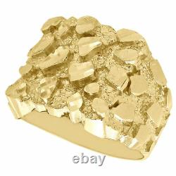 Real 10K Yellow Gold Men's Nugget Style Pinky Ring Custom Fancy Band 17.50mm