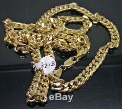 Real 10K Yellow Gold Miami Cuban Link Chain 18 inch Italian 7 mm Rope, Franco N