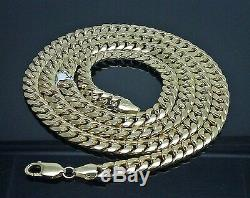 Real 10K Yellow Gold Miami Cuban Link Chain Necklace 7mm, 27 inch, Box Clasp, N