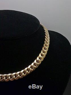 Real 10K Yellow Gold Miami Cuban Link Chain Necklace 7mm, 28 inch, Franco, Rope N